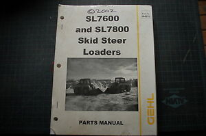 Gehl Sl7600 Sl7800 Skid Steer Loader Parts Manual Book Catalog List Shop Wheel
