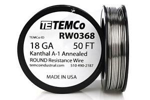 Temco Kanthal A1 Wire 18 Gauge 50 Ft Resistance Awg A 1 Ga