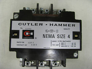 Cutler hammer Nema Size 4 Contactor C10fn3 With Contact Kit 6 36 2