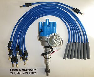 Ford 221 260 289 302 Blue Small Female Cap Hei Distributor Spark Plug Wires