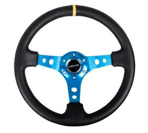 Nrg Steering Wheel 06 Black Leather Blue Spokes With Drifting Stripe 350 Mm New