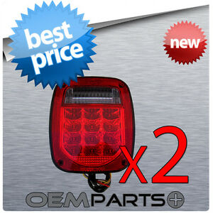 2 Led Universal Fit Stud mount Combination Tail Light Truck Trailer Boat License