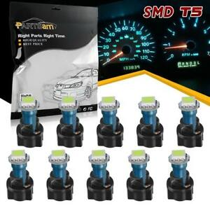 10 T5 Pc74 Twist Socket Instrument Cluster Ice Blue Dashboard Led Light Bulb