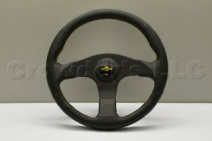 Nardi Personal Neo Actis Steering Wheel 330mm Black Leather Yellow Stitch