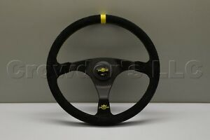 Personal Trophy Steering Wheel 350mm Black Suede Leather With Yellow Stitching