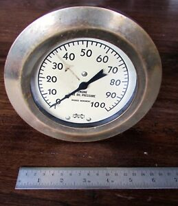 Vintage Brass Marshalltown Iowa Engine Lube Oil Pressure Gauge Live Steam Engine