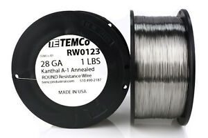 Temco Kanthal A1 Wire 28 Gauge 1 Lb 2609 Ft Resistance Awg A 1 Ga