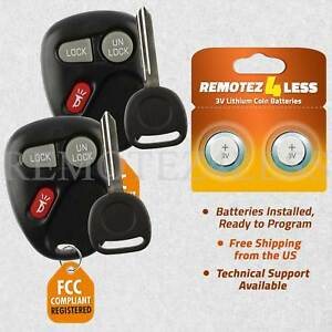 2 New Replacement Keyless Entry Remote Car Fob For 15042968 102p Keys N Clips