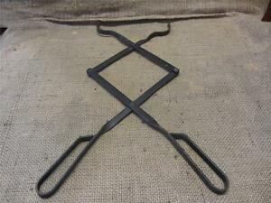 Vintage Iron Tongs Double Jointed Design Antique Old Farm Field Primitive 8692
