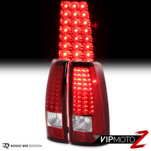 99 02 Silverado Sierra Red Clear Led Tail Lights Signal Brake Replacement Lamps