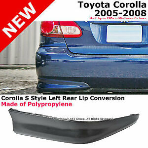 Toyota Corolla 05 08 S Style Rear Driver Lower Body Kit Lip Spoiler Pp Black