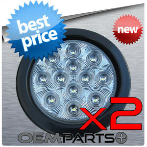 2pc New 4 Round Truck Trailer Back up Reverse 12v Clear white Led Light
