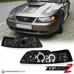 For 99 04 Ford Mustang V8 V6 Gt 5 0 smoke Halo Led Projector Headlights Lamps