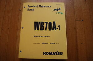 Komatsu Wb70a 1 Backhoe Loader Operation Maintenance Manual Book Operator Guide