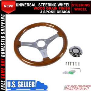 For Universal Jdm 350mm 6 Hole Wood Grain Deep Dish Chrome Spokes Steering Wheel