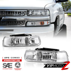 00 06 Chevy Tahoe suburban New Pair Crystal Clear Headlight Lamps Left right Set