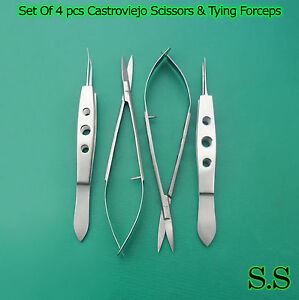 Set Of 4 Pcs Micro Surgery Castroviejo Scissors Suture Tying Forceps 6 Ey 054