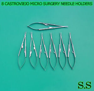 8 Pcs Castroviejo Micro Surgery Needle Holders Curved straight Kit