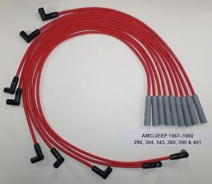 Amc jeep 1967 1990 290 304 343 360 390 401 Red Hei Hi perf 8mm Spark Plug Wires