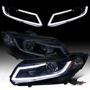 For 2012 2015 Honda Civic 2 4d Led Bar Projector Headlights Glossy Piano Black