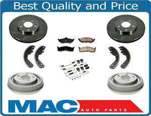 New Front Rotors Rear Drums Brake Pads Shoes Spring Kit For Dodge Neon 00 05