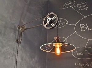 Vintage Industrial Pulley Sconce W Mirrored Reflector Shade Machine Age Light