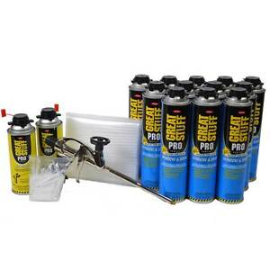 Great Stuff Pro Window Door 12 20oz Cans Pro Foam Gun 2 Cleaner