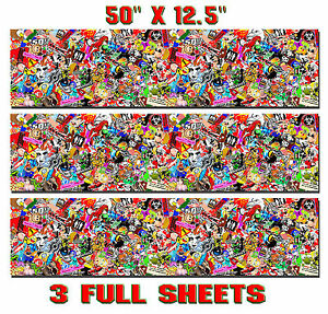 3 Sticker Bomb Sheets Jdm Honda Decal Long 12 5 X 50 Each 3m Wrap Vinyl Gloss