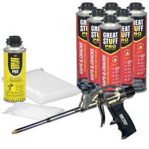 Great Stuff Pro Gaps Cracks Kit 6 24 Oz Cans Foam Gun 100 Straws Tips