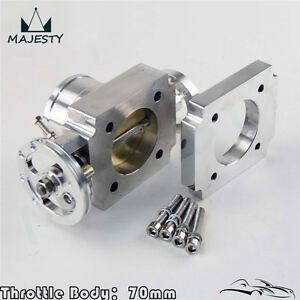 Universal 2 75 70mm Cnc Billet Intake Throttle Body Aluminum High Flow Silver