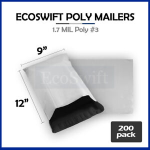 200 9x12 White Poly Mailers Shipping Envelopes Self Sealing Bags 1 7 Mil 9 X 12