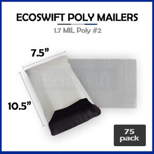 75 7 5 X 10 5 White Poly Mailers Shipping Envelopes Self Sealing Bags 1 7 Mil