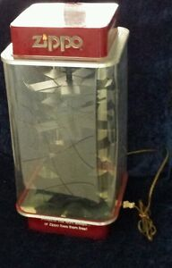 Rare Vintage Grimm Industries Lighted Moving Red Zippo Countertop Display Case