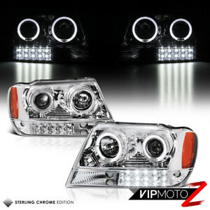 99 04 Jeep Grand Cherokee Wj L R Halo Projector Chrome Headlight Led Bumper Lamp