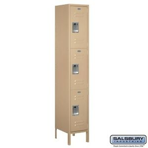 Extra Wide Standard Metal Locker Triple Tier 1 Wide 6 High 15 Deep Tan New