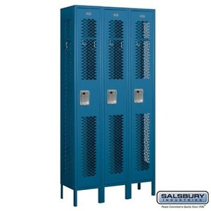 Salsbury Vented Metal Locker Single Tier 3 Wide 6 High 12 Deep Blue 71362bl u