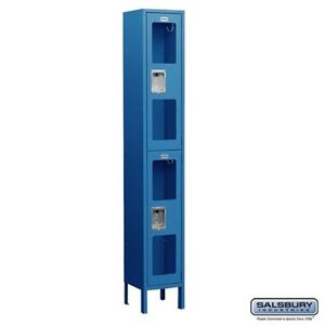 See through Metal Locker Double Tier 1 Wide 6 High 18 Deep Blue S 62168bl u