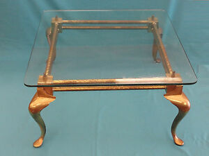 Vintage 50s English Brass Cocktail Coffee Table W Glass Top