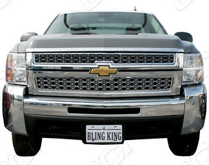 07 2010 Chevy Silverado 2500 3500 Chrome Grille Mesh Grill Insert Trim Molding