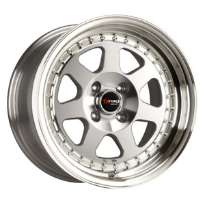 Set 4 15x7 10 4x100 Drag Dr 27 Silver Wheels Rims 15 Inch 53870