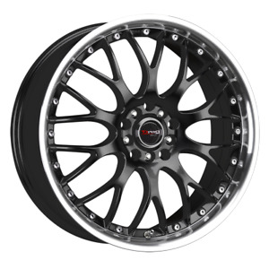 Set 4 16x7 40 5x100 114 3 Drag Dr 19 Black Wheels rims 16 inch 22760