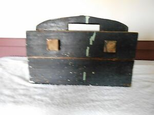 Antique Primitive Wood Wooden Box With Two Drawers Old Black Paint Unique