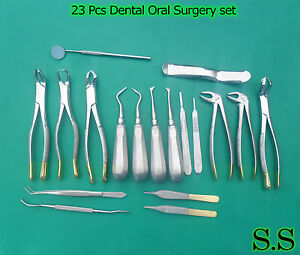 23 Pcs Dental Oral Extraction Forceps Elevators Instruments Gold Handle Kit