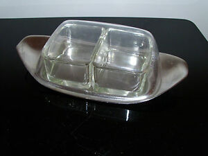 Wmf Butter Jam Jelly Dish Chromargan Glass Prof Wilhelm Wagenfeld Modernist 7