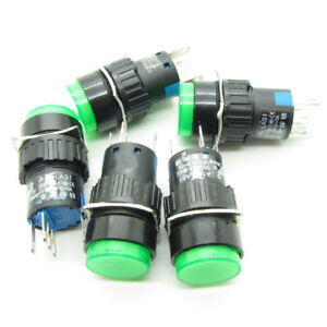 25 Green 16mm Push Button Switch Latching Round With Ac 220v Led Light