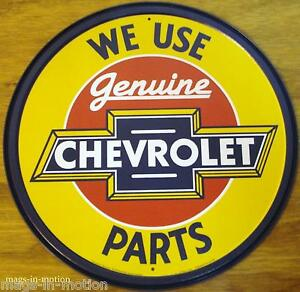 Usa Metal Sign We Use Genuine Chevrolet Parts Round Ships Worldwide