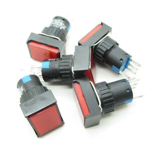 25 Red 16mm Push Button Switch Latching Rectangle With Dc 12v Led Light