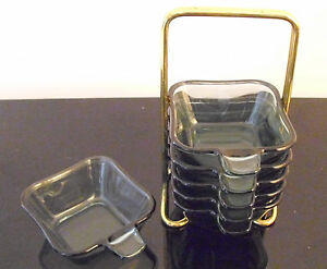 Wmf Brass Ashtray Tower Green Turmalin Glass Prof Wilh Wagenfeld Modernist 76