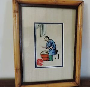 Antique Chinese Watercolor Painting Pith Paper Silk 19th C Framed Musician