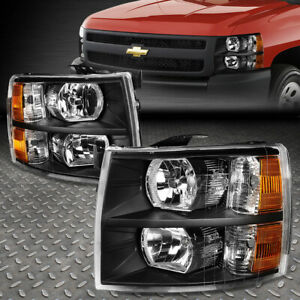 For 07 14 Chevy Silverado Black Housing Amber Corner Headlight Replacement Lamp